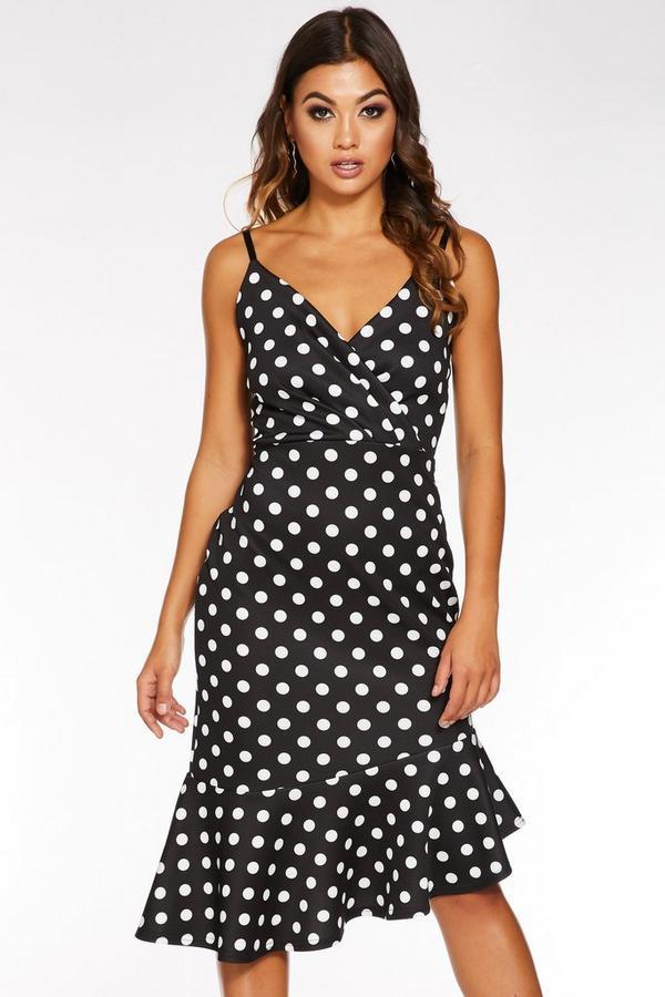 Black And White Polka Dot Wrap Asymmetrical Midi Dress