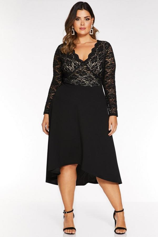 Curve Black Sequin Lace Long Sleeve Dip Hem Dress