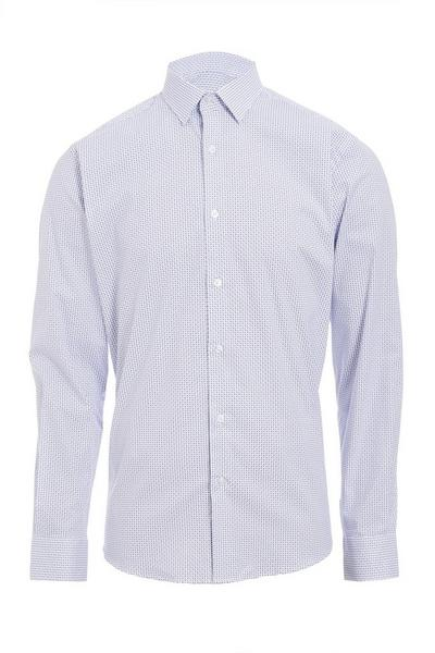 Long Sleeve Shirt With All Over Print in Light Blue