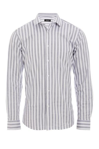 Long Sleeve Shirt with Grey Faded Stripes