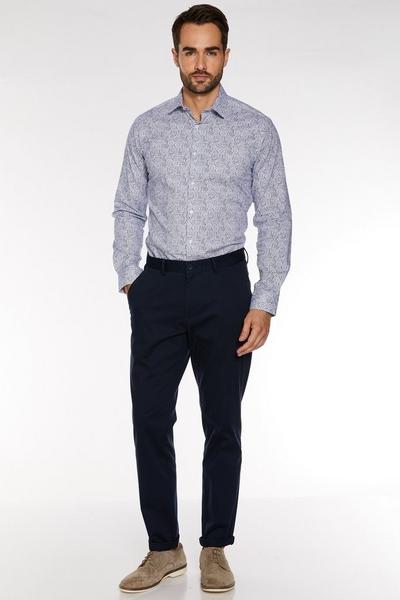 Long Sleeve Shirt In Grey Floral Print