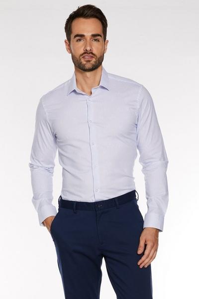 Long Sleeve Optical Geometric Print Shirt