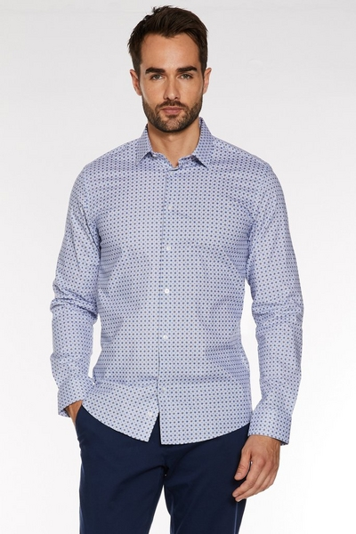 Slim Fit Long Sleeve Geo Print Shirt