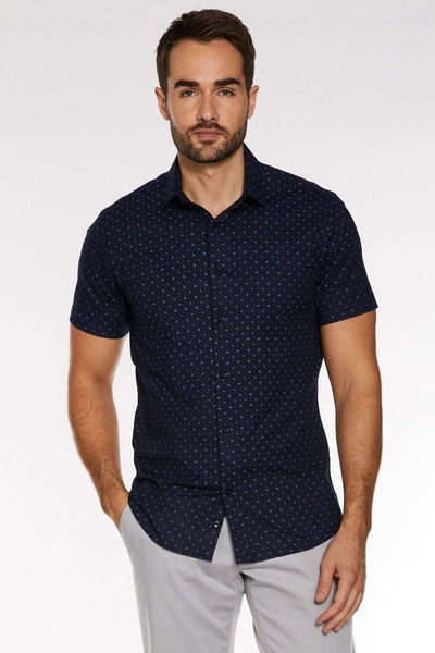 Short Sleeve Geometric Print Shirt in Navy