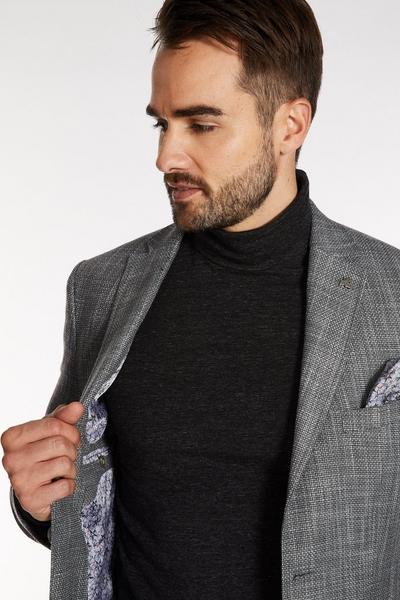 Plain Textured Blazer in Grey