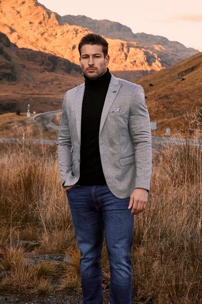 Plain Textured Oxford Blazer in Grey