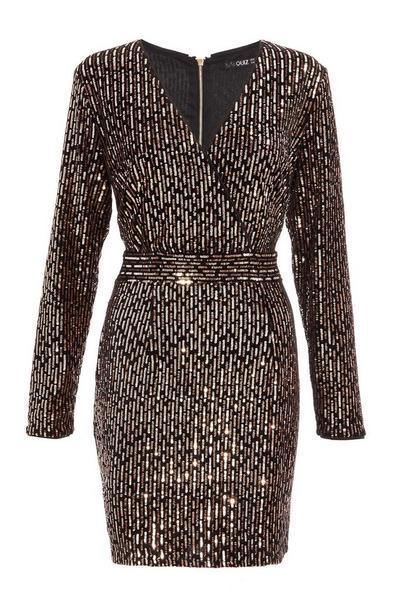 Black and Rose Gold Velvet Sequin Dress