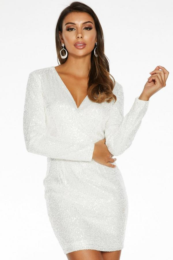 White Sequin Wrap Front Long Sleeve Dress