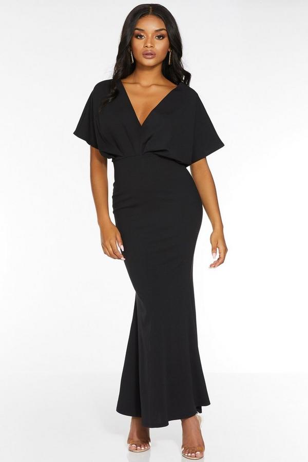 Petite Black Batwing V Neck Maxi Dress