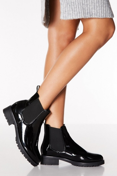 Black Patent Chelsea Chunky Ankle Boots