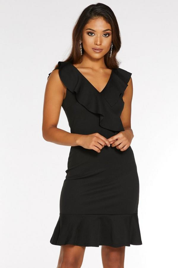 Petite Black Frill Bodycon Dress