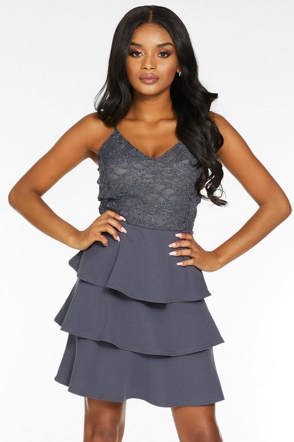 Petite Grey Glitter Lace V Neck Tiered Skater Dress