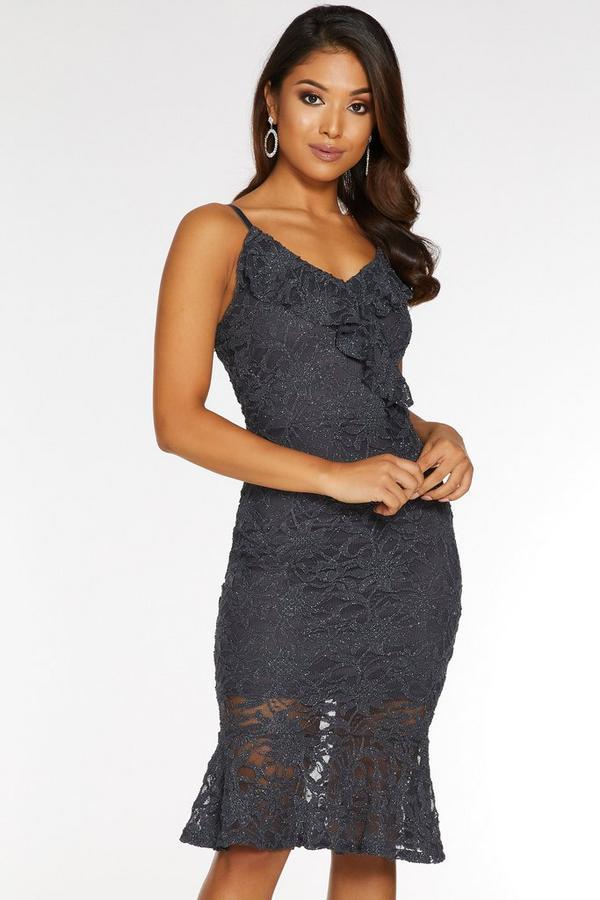 Petite Grey Lace V Neck Frill Midi Dress