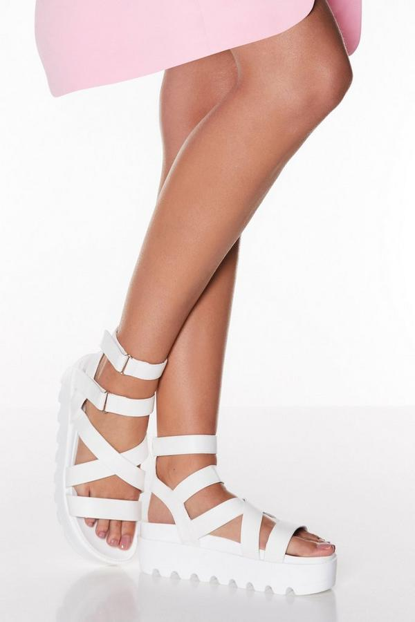 White Chunky Strap Flatform Sandals
