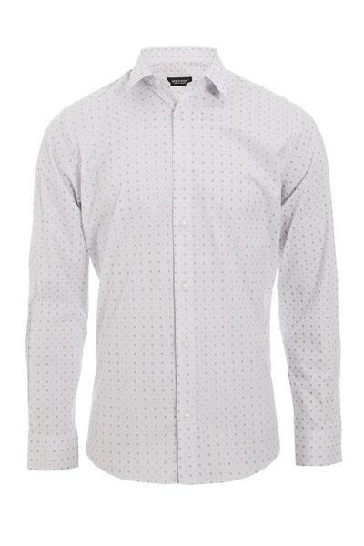 Geometric Print Long Sleeve Shirt in Stone