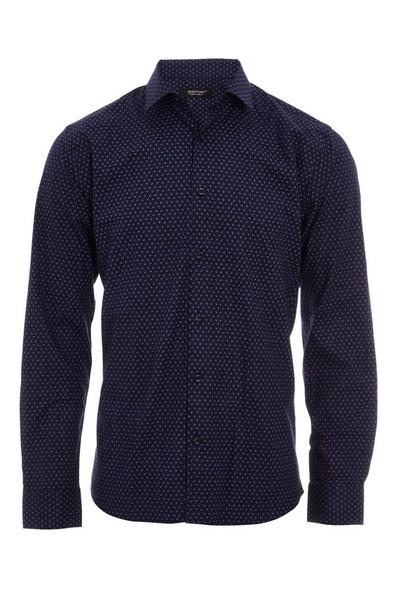Long Sleeved Geo Patterned Shirt in Navy