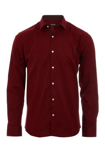Long Sleeve Plain Shirt in Red