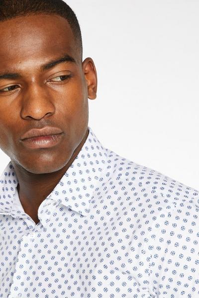 Long Sleeve Slim fit Geometric Shirt in White