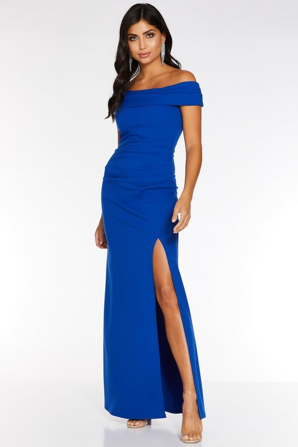 Royal Blue Bardot Ruched Split Maxi Dress