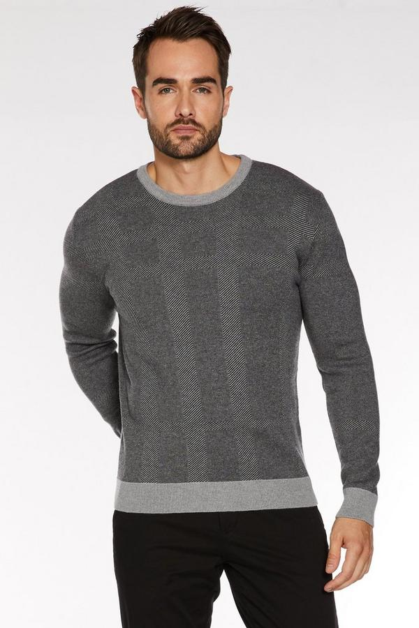 Ribbed Crew Neck in 2 Tone Grey