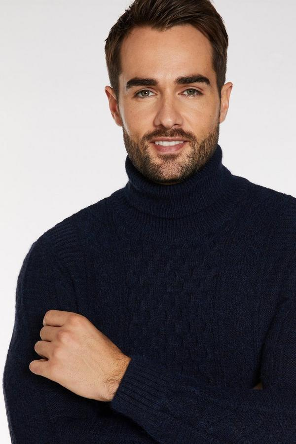 Cable Knit Roll Neck Jumper