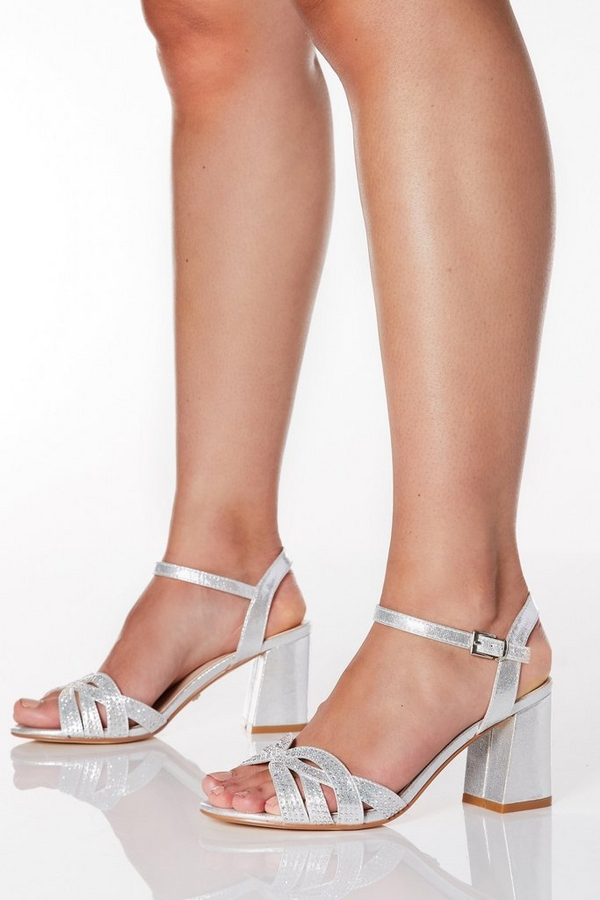 Wide Fit Silver Shimmer Diamante Swirl Heels