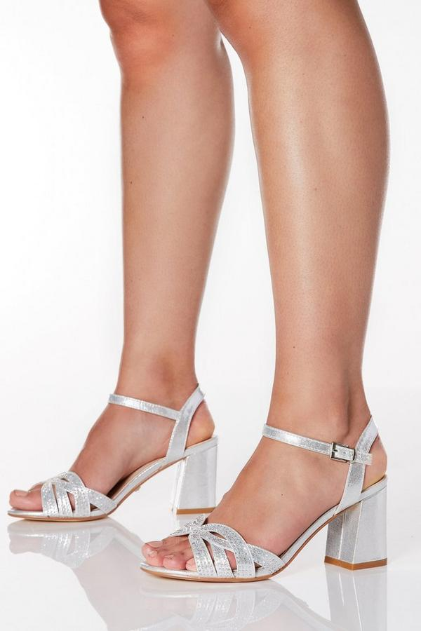 Wide Fit Silver Shimmer Diamante Swirl Heels