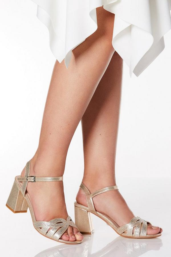 Wide Fit Gold Shimmer Diamante Swirl Heels