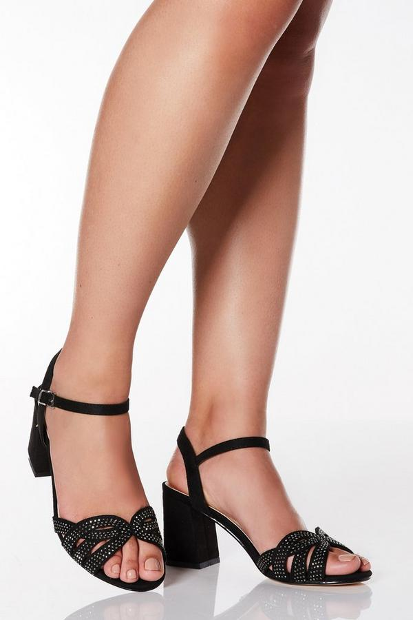 Wide Fit Black Faux Suede Diamante Swirl Heels