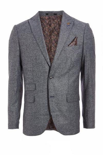 Textured Blazer in Mid Blue