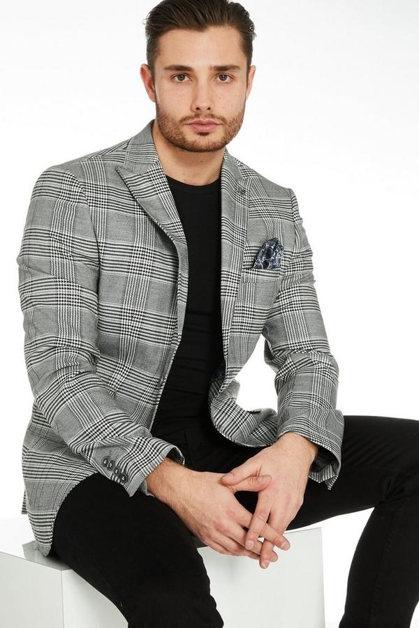 Regular Fit Grey Check Blazer