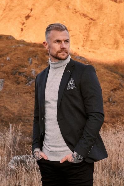 Flannel Textured Blazer In Charcoal