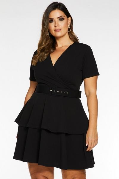 Curve Black Wrap Front Belted Dress