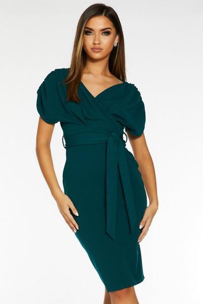 Green Wrap Batwing Tie Belt Midi Dress