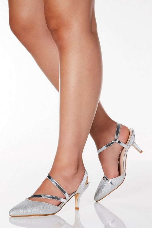 Wide Fit Silver Shimmer Low Heel Court Shoes