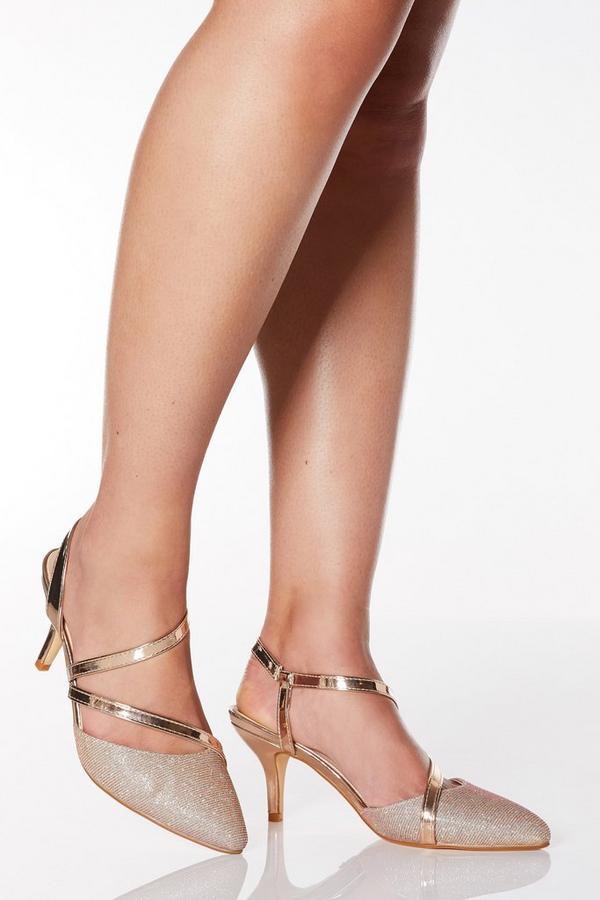 Wide Fit Rose Gold Shimmer Low Heel Court Shoes