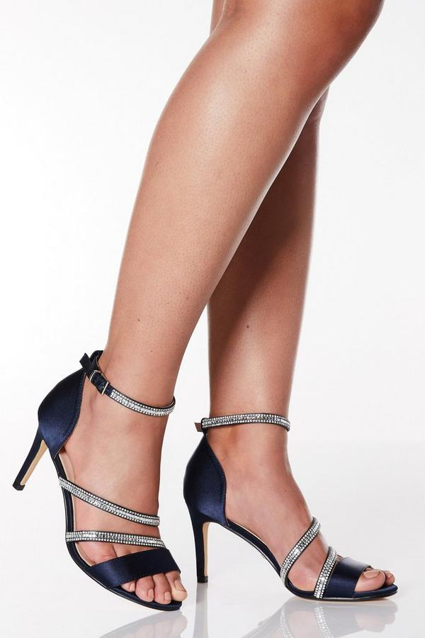 Wide Fit Navy Satin Diamante Strap Heel Sandals