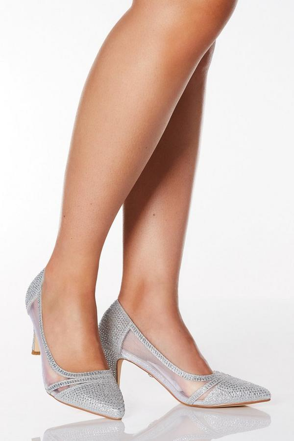 Wide Fit Silver Diamante Mesh Mid Heel Courts