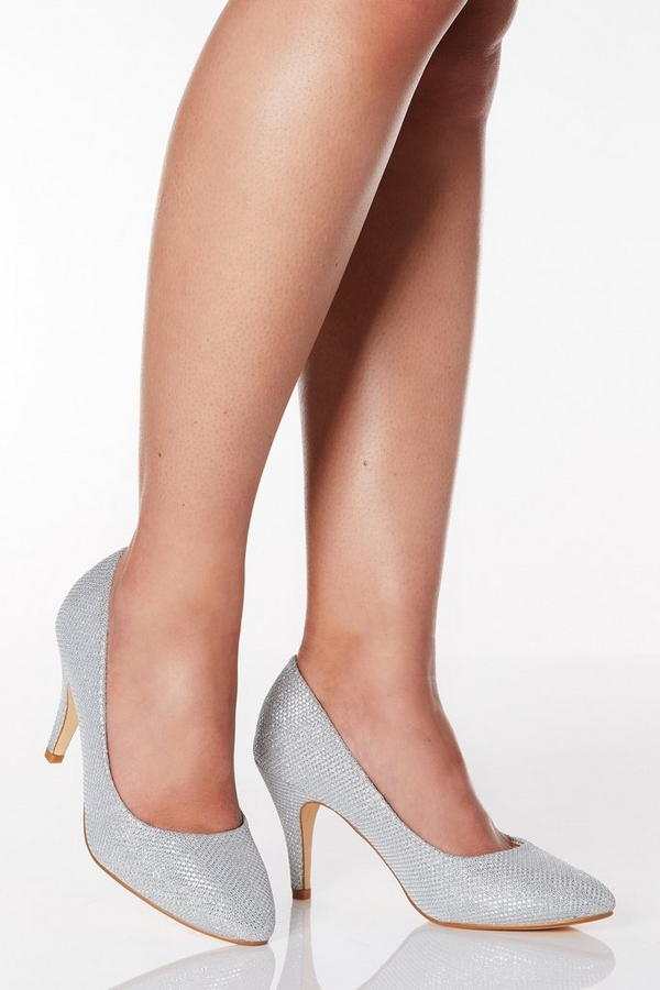 Wide Fit Silver Shimmer Almond Toe Courts