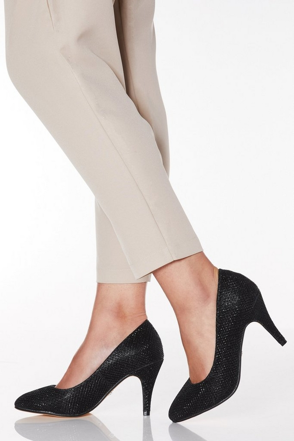 Wide Fit Black Shimmer Almond Toe Courts
