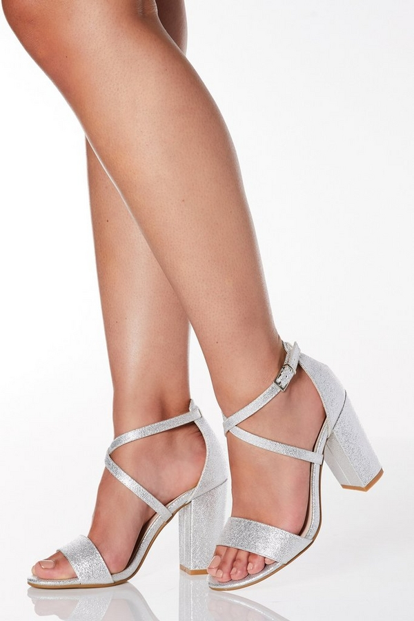 Wide Fit Silver Faux Leather Cross Strap Heeled Sandals