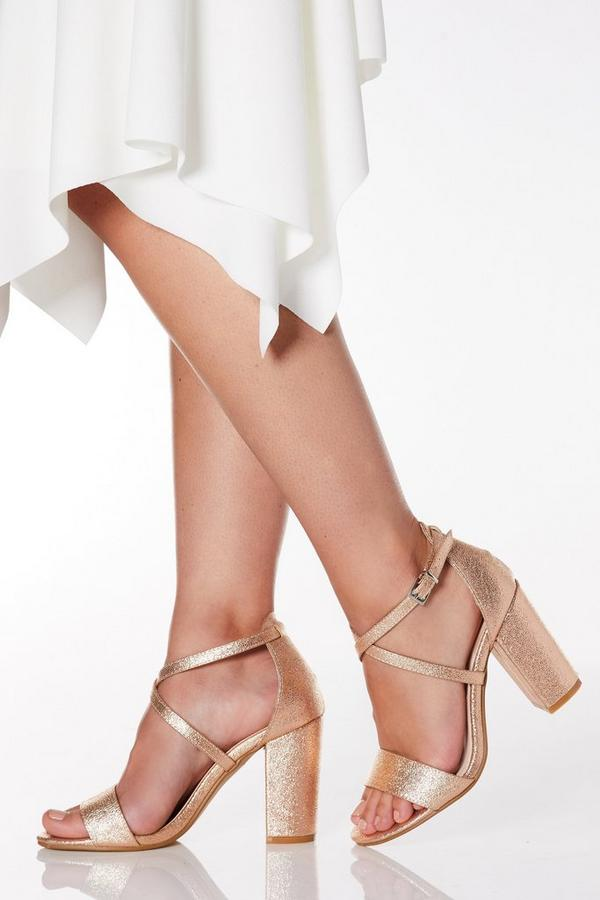 Wide Fit Rose Gold Faux Leather Cross Strap Heeled Sandals