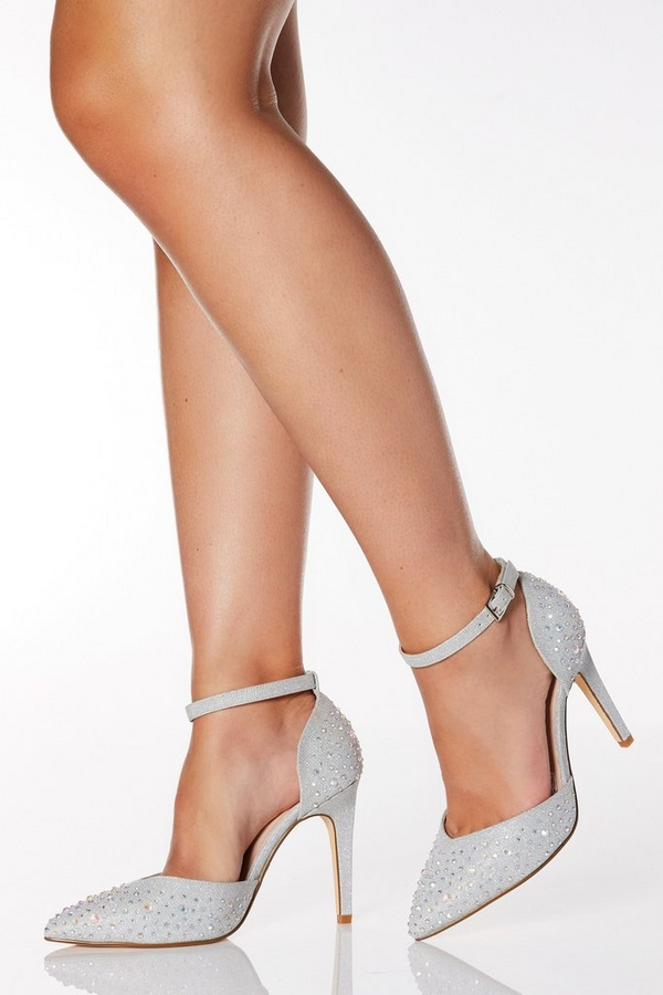Wide Fit Silver Shimmer Diamante Court Heel