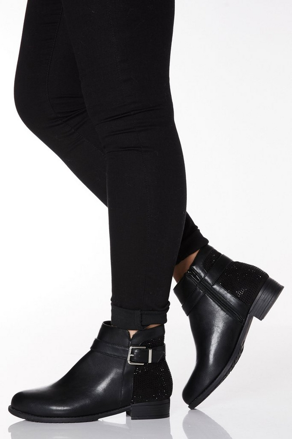 Wide Fit Black Faux Leather Buckle Ankle Boot