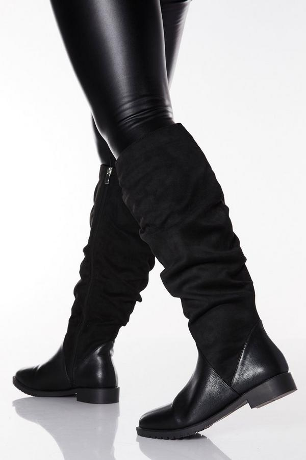 Wide Fit Black Faux Suede Ruched Knee High Boots