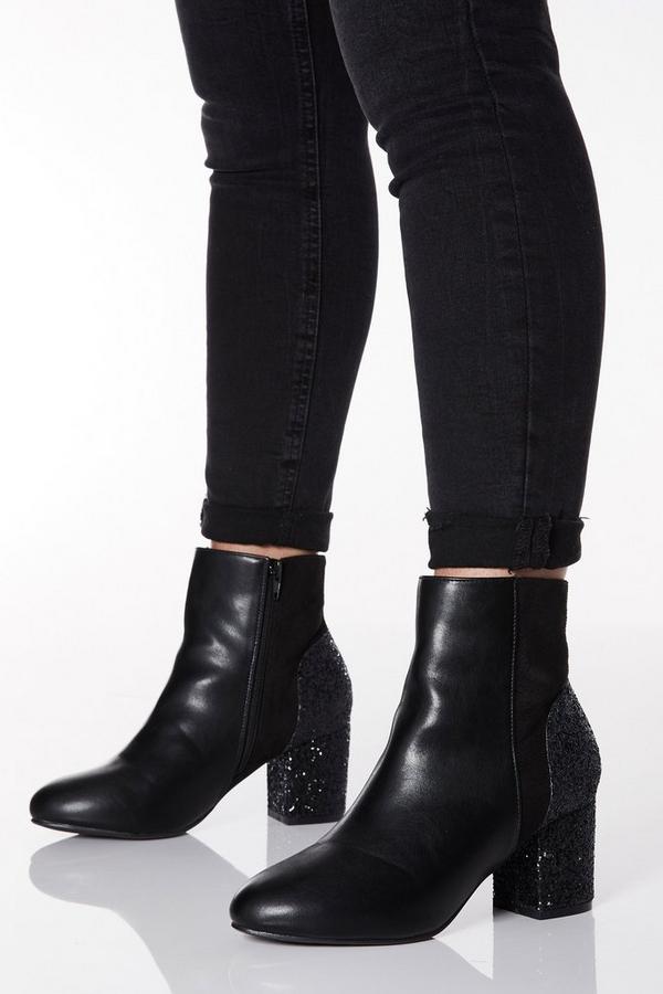 Wide Fit Black Glitter Heel Ankle Boots