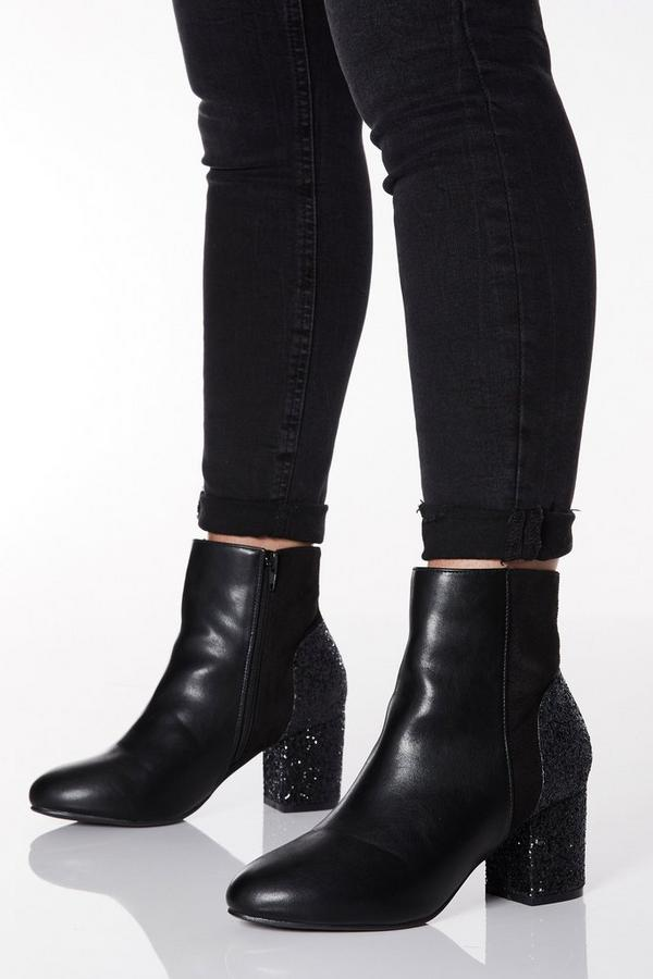 Wide Fit Black Glitter Heel Ankle Boots