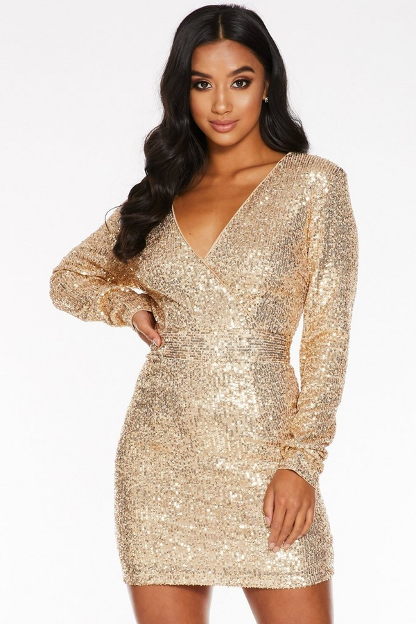 Petite Gold Sequin Wrap Front Long Sleeve Dress