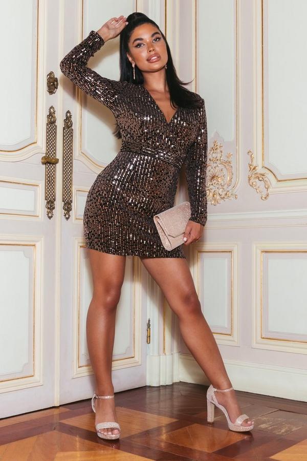 Petite Black and Rose Gold Velvet Sequin Dress