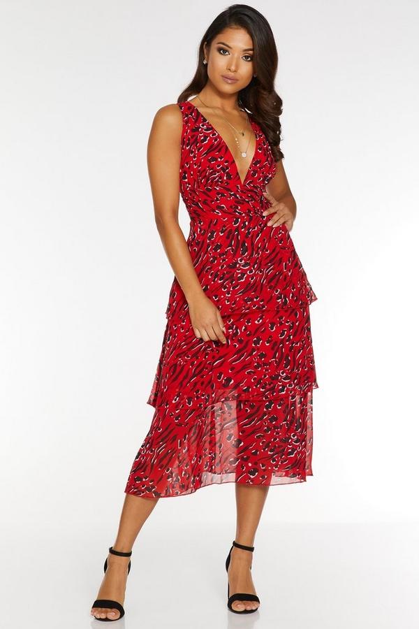 Petite Red and Black Animal Print Midi Dress